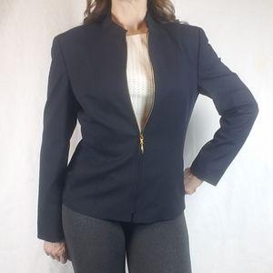 ESCADA Black Wool Blazer With Gold Zippere…